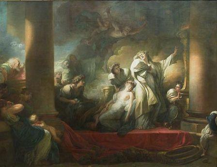 Fragonard, Le grand prêtre Corésus se sacrifie pour sauver Callirhoé