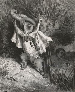 """""""Le Chat botté"""", publié dans """"Charles Perrault, Contes"""",  illustré par Gustave Doré, gravé par Adolphe François Pannemaker (1822-1900), Paris, Hetzel, 1862, in-fol. 43 x 31 x 4,5 cm © Bibliothèque Nationale de France"""
