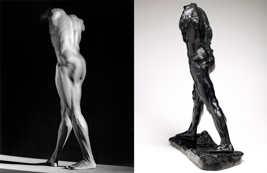 Robert Mapplethorpe, Michael Reed, 1987, used by permission of the Robert Mapplethorpe Foundation /// Auguste Rodin, L'Homme qui marche, bronze, 1907 © musée Rodin, ph. C. Baraja