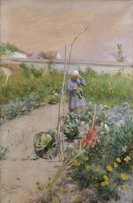 Carl Larsson, Dans le jardin potager, 1883, aquarelle © Nationalmuseum Stockholm