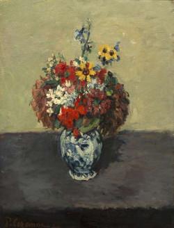Paul Cézanne – Géraniums et pieds d'alouette dans un petit vase de Delft, vers 1873 hst 52 x 39 cm Signé en bas à gauche : P. Cézanne, Collection particulière, France © Christian Baraja
