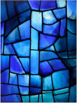 Serge Poliakoff / atelier Simon Marq, Composition bleue, vitrail panneau d'exposition 1963, Coll. Musée des Beaux-Arts de Reims, Photo ADAGP, Paris 2015, Copyright Photo C. Devleeschauwer