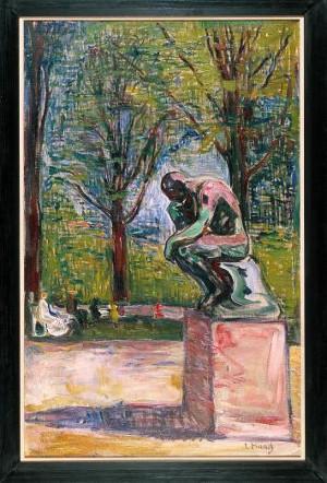 Edvard Munch (1863 -1944), Le Penseur de Rodin dans le parc du docteur Linde à Lübeck, vers 1907, Huile sur toile, H. 22 cm ; L. 78 cm