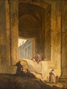Hubert Robert, Personnages dans une baie à Saint-Pierre de Rome. 1763. Huile sur bois. H. 48,5; l. 37 cm. Valence, musée de Valence © Musée de Valence, photo Éric Caillet