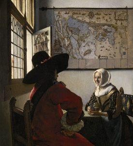Johannes Vermeer, Officier et jeune fille souriante, vers 1657