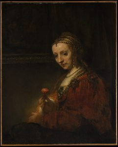 Woman with a Pink, Rembrandt (1660s)