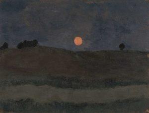 « Lune au-dessus d'un paysage », vers 1900 – détrempe sur carton