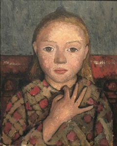 « Portrait de jeune fille, les doigts écartés devant la poitrine », vers 1905 – détrempe sur toile