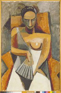Femme à l'éventail (Après le bal), Pablo Picasso, printemps-été 1908. / © Succession Picasso 2016. Crédit photo : Musée d'Etat de l'Ermitage,Saint-Pétersbourg, 2016